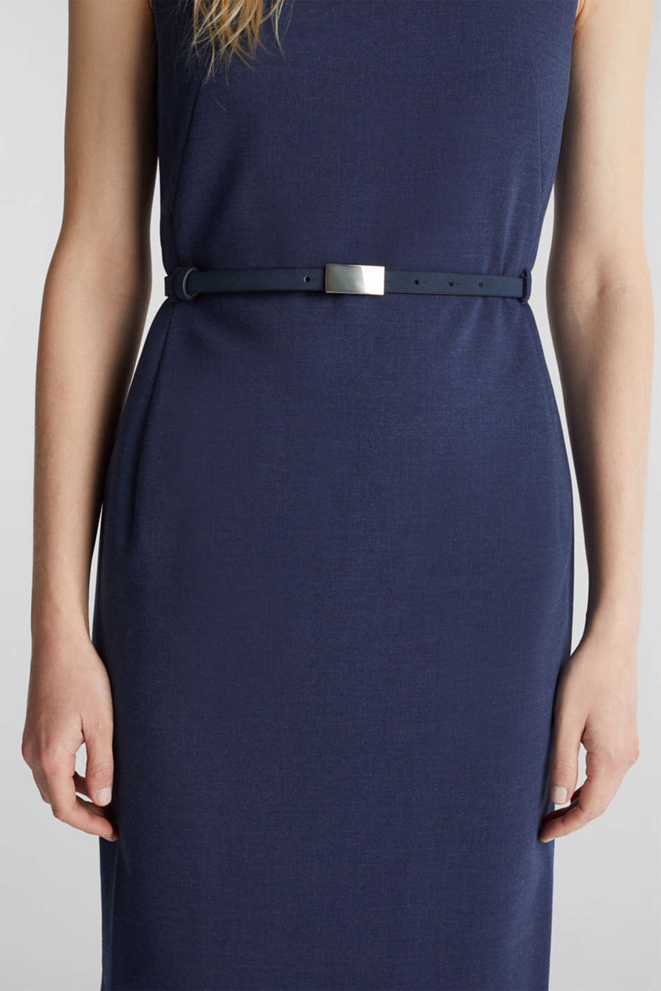 Sheath dress with a buckled belt, GREY BLUE 5, detail image number 2