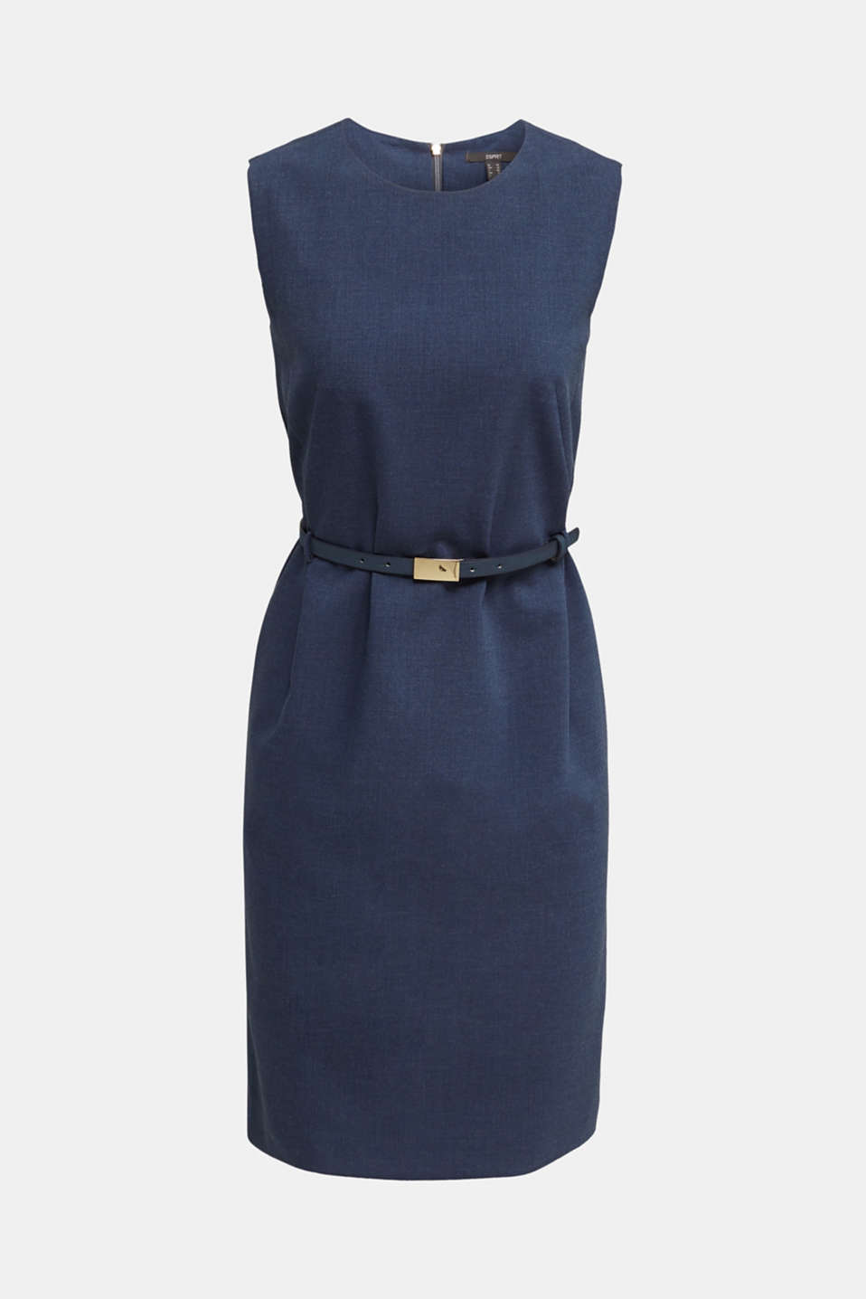 Sheath dress with a buckled belt, GREY BLUE 5, detail image number 7