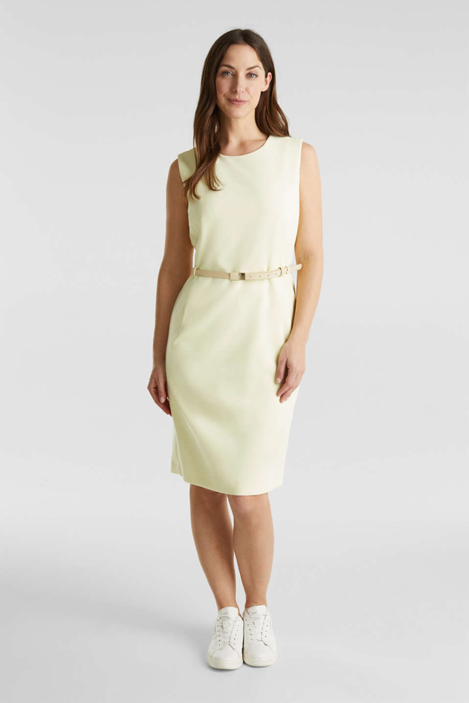 Sheath dress with a buckled belt, LIME YELLOW, detail image number 0