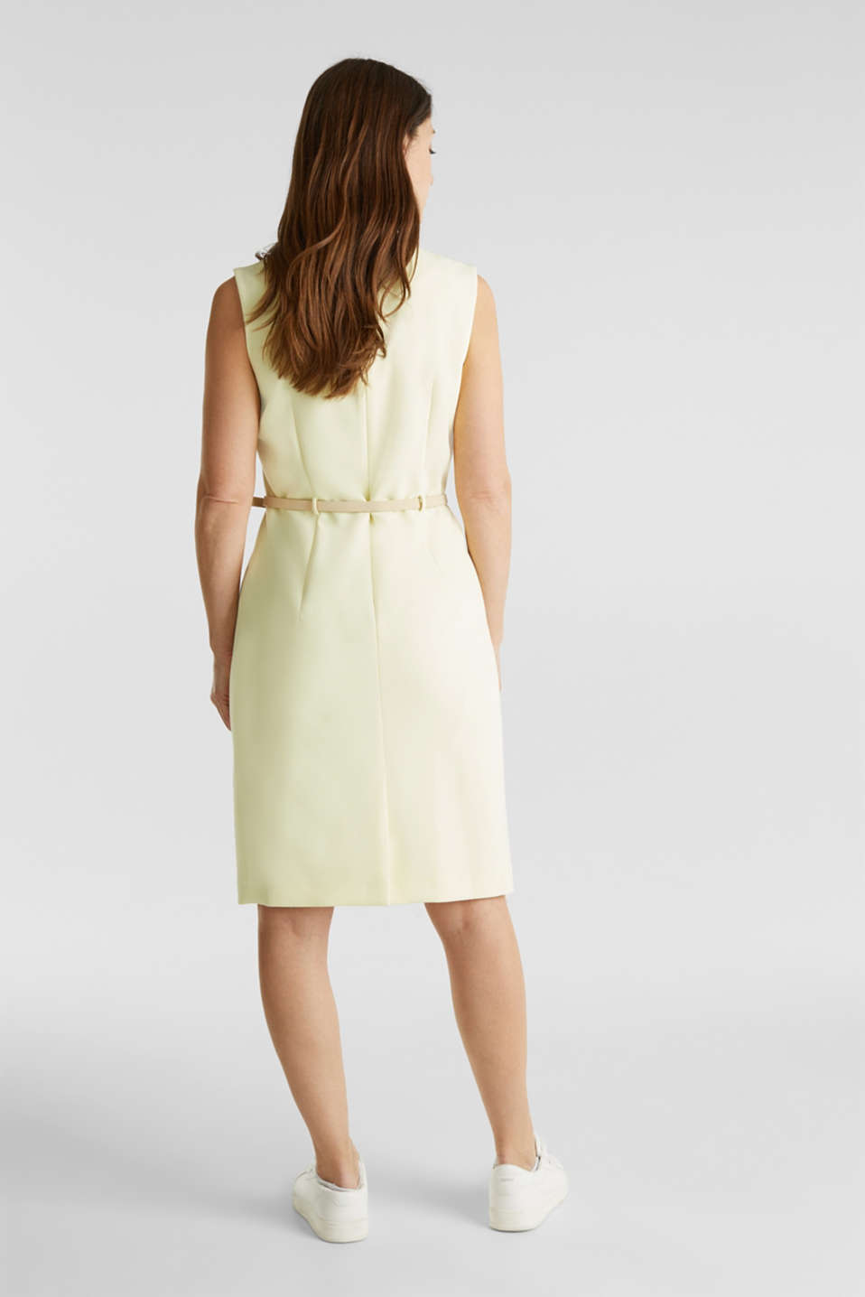 Sheath dress with a buckled belt, LIME YELLOW, detail image number 3