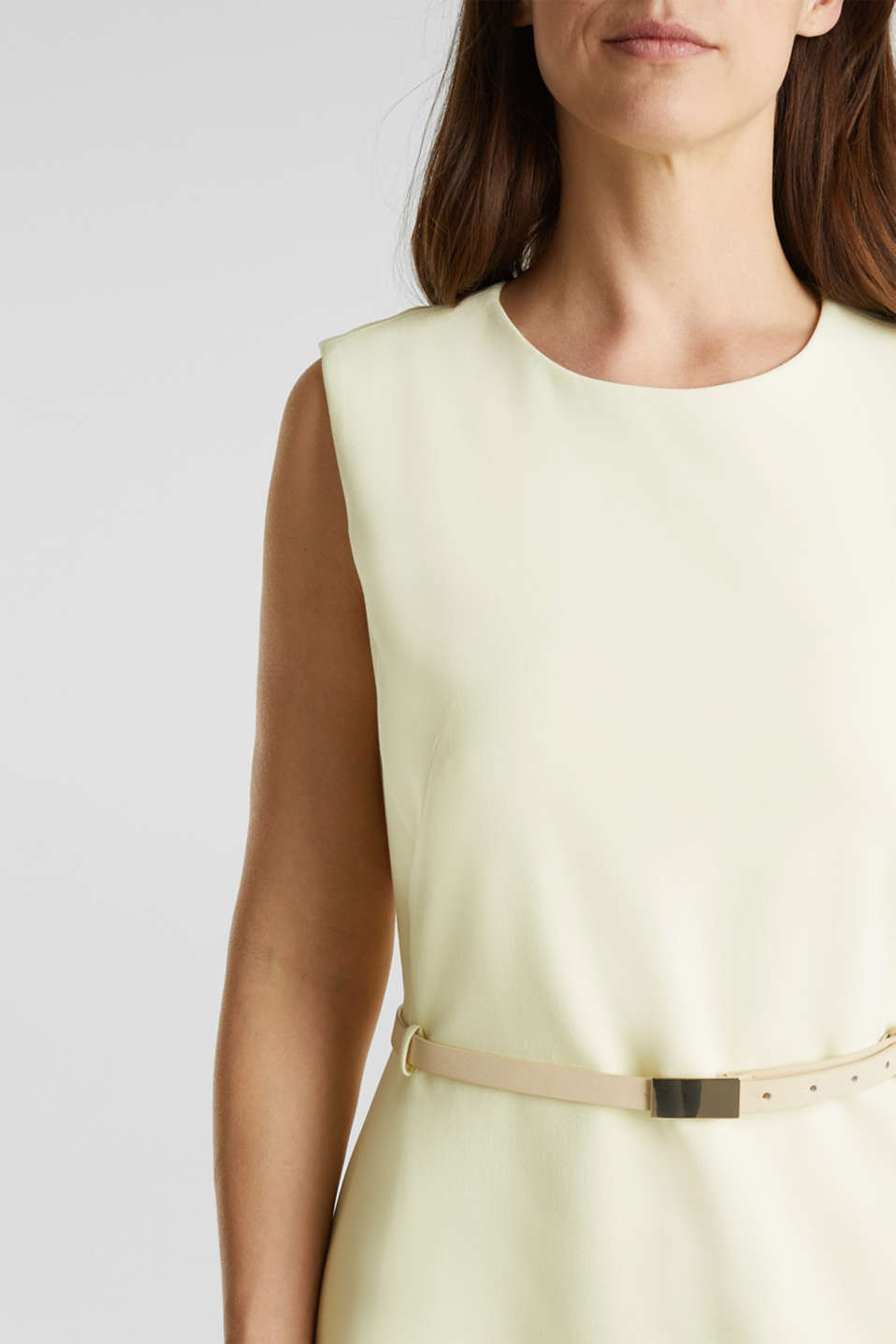 Sheath dress with a buckled belt, LIME YELLOW, detail image number 2