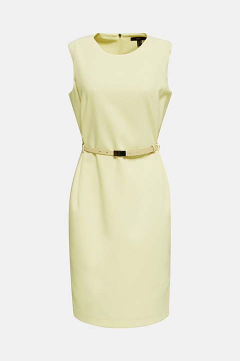 Sheath dress with a buckled belt
