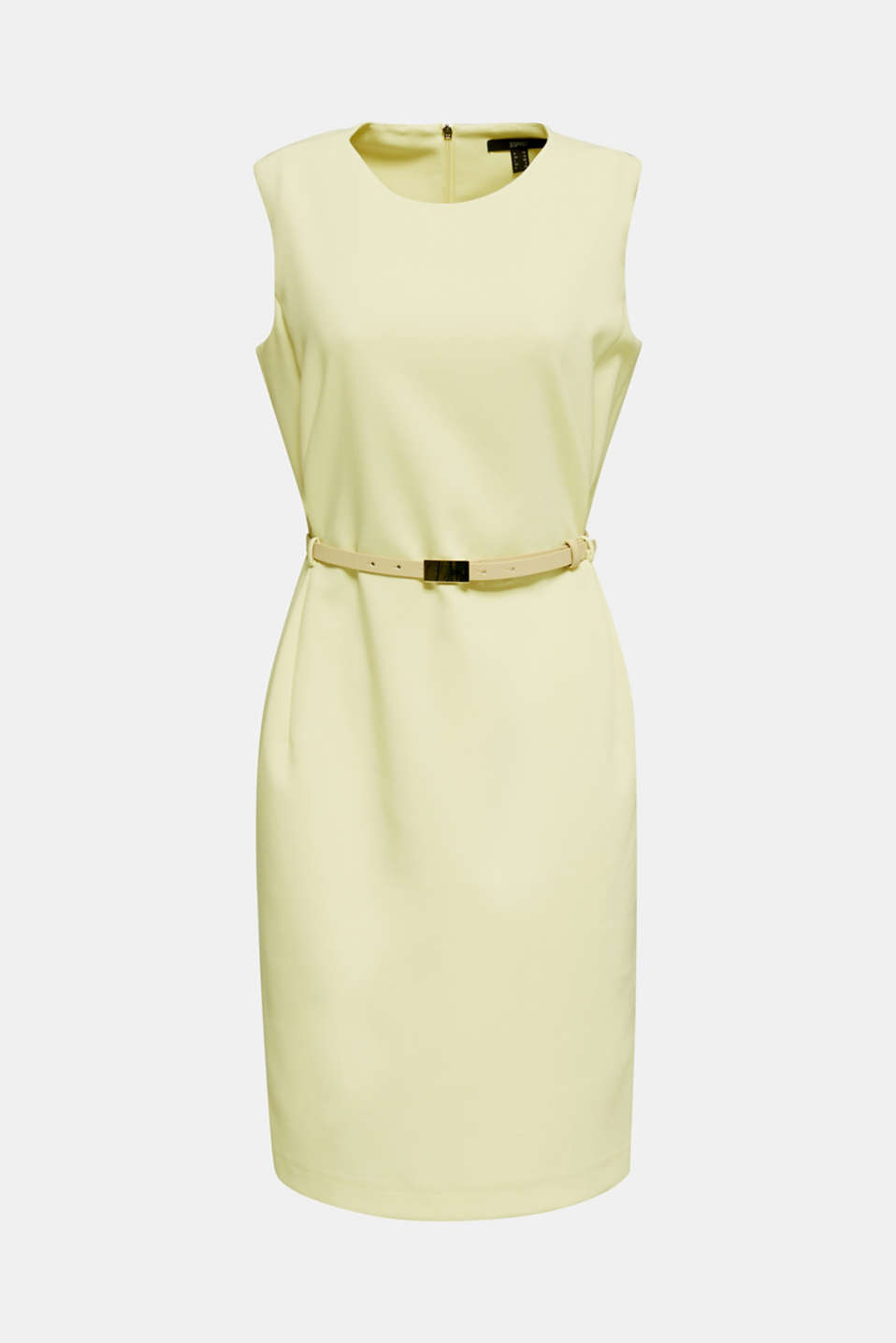 Sheath dress with a buckled belt, LIME YELLOW, detail image number 5