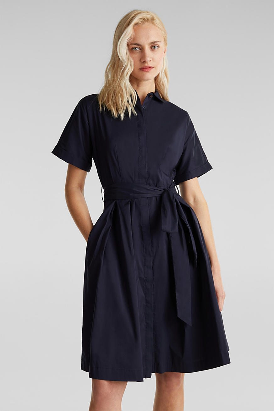 Shirt dress with a silky sheen