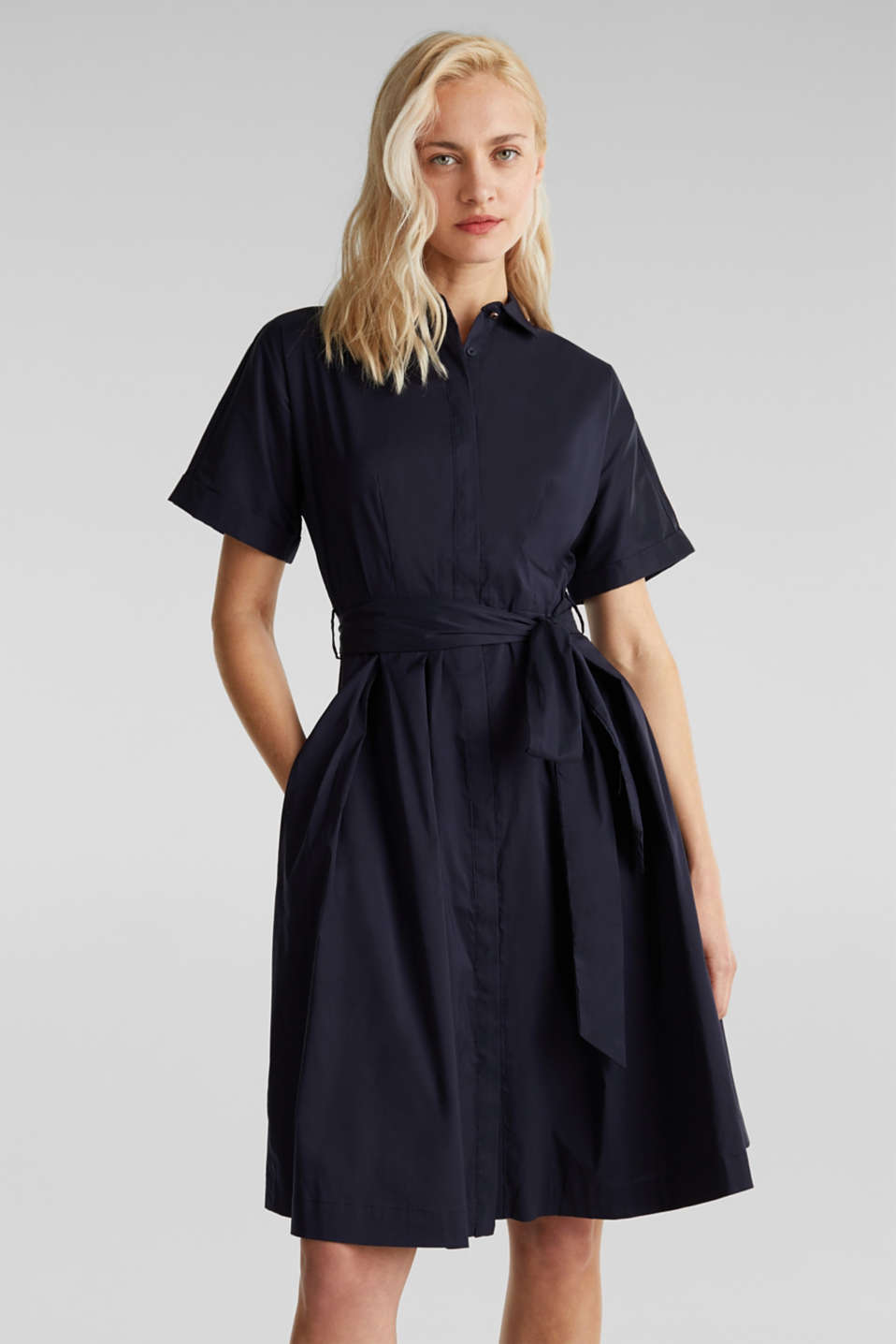 Shirt dress with a silky sheen, NAVY, detail image number 0