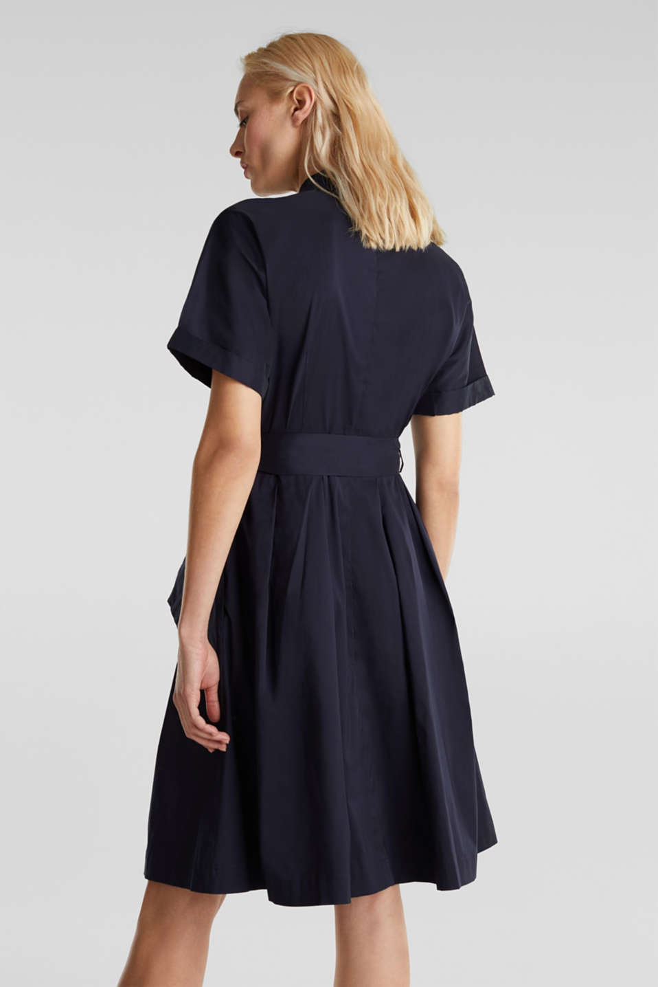 Shirt dress with a silky sheen, NAVY, detail image number 2
