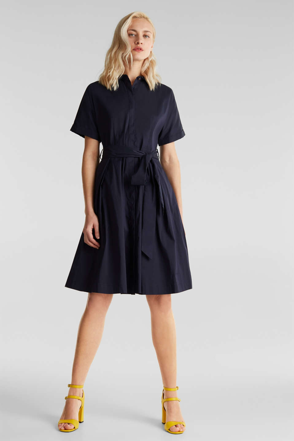 Shirt dress with a silky sheen, NAVY, detail image number 1