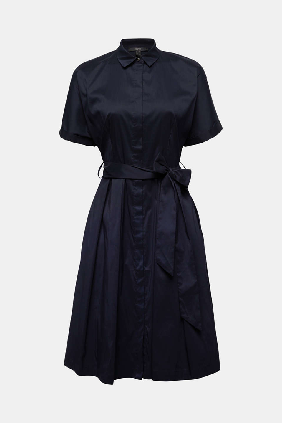 Shirt dress with a silky sheen, NAVY, detail image number 5