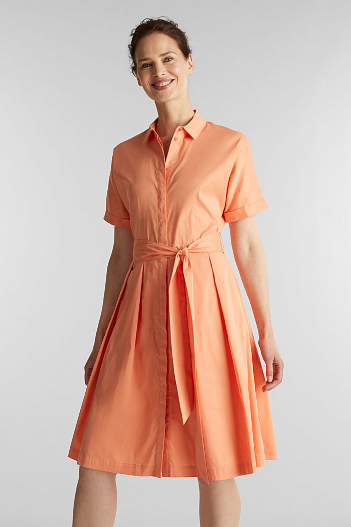 Shirt dress with a silky sheen, ORANGE, detail image number 0
