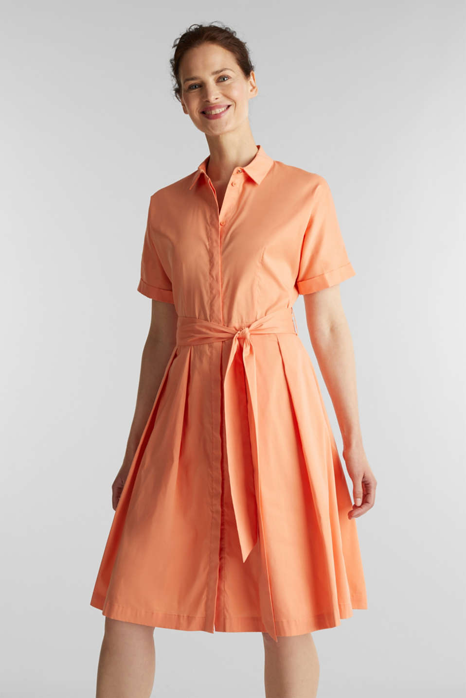 Esprit - Shirt dress with a silky sheen