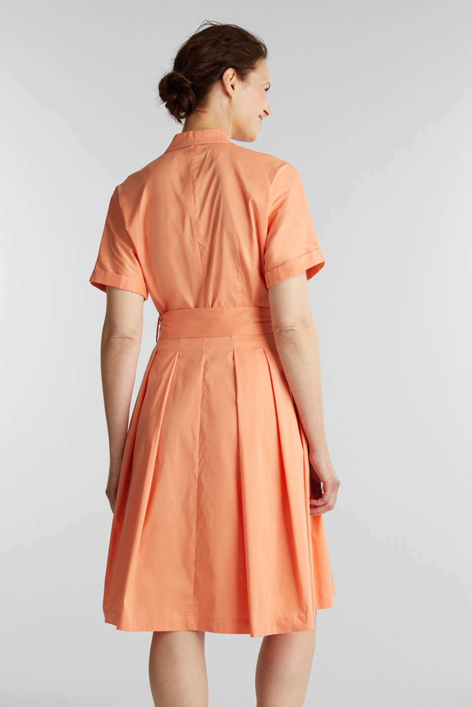 Shirt dress with a silky sheen, ORANGE, detail image number 2