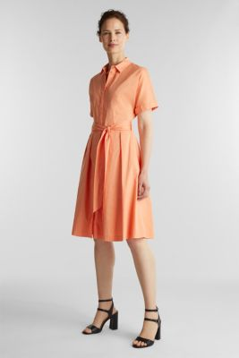 Shirt dress with a silky sheen, ORANGE, detail