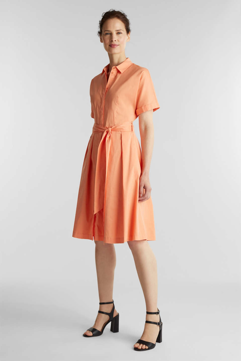 Shirt dress with a silky sheen, ORANGE, detail image number 1