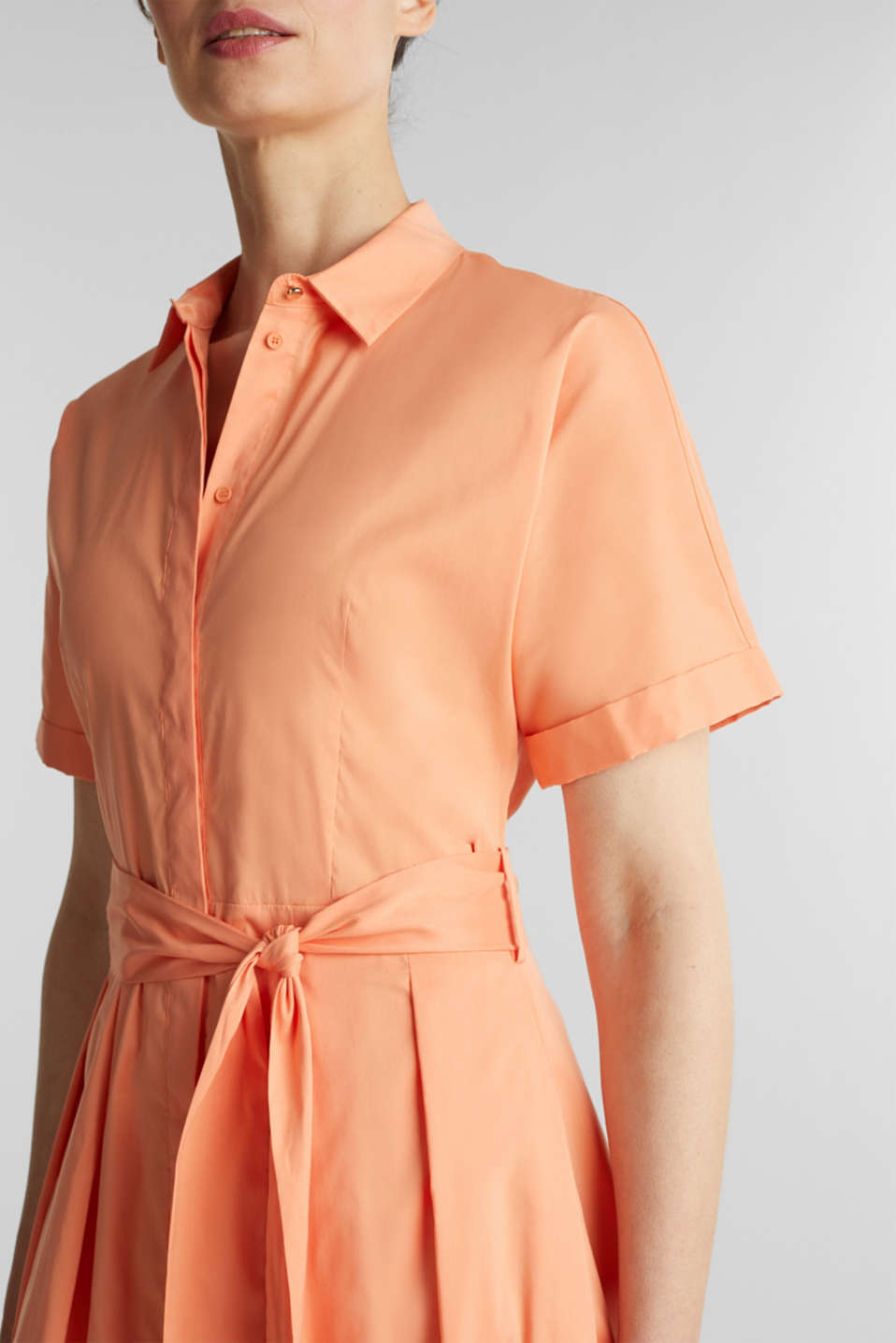 Shirt dress with a silky sheen, ORANGE, detail image number 3