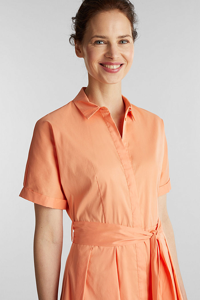 Shirt dress with a silky sheen, ORANGE, detail image number 5