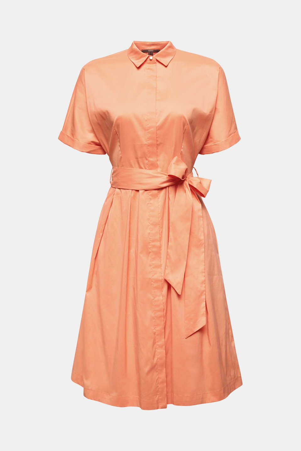 Shirt dress with a silky sheen, ORANGE, detail image number 6