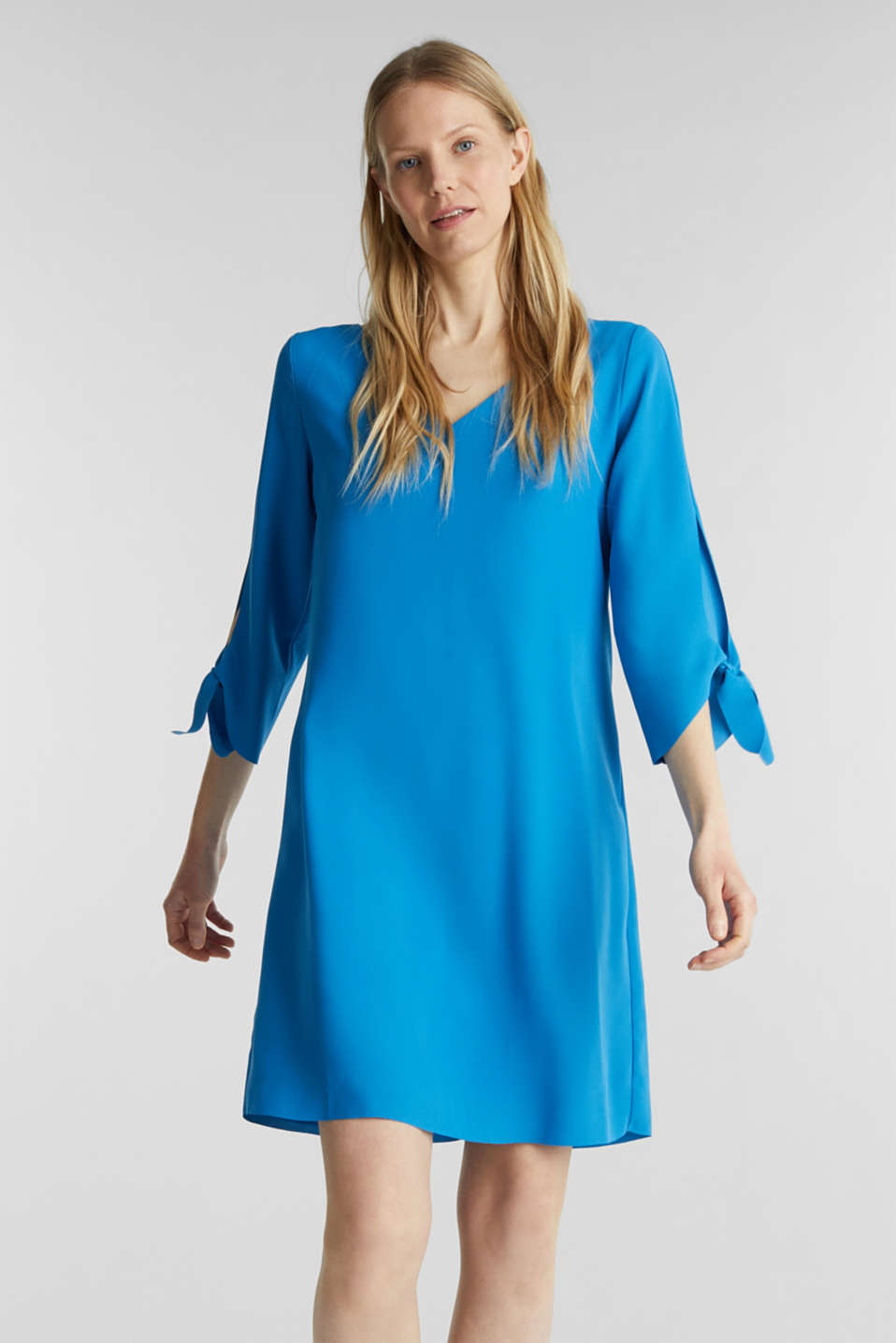 Crêpe dress with open edges, DARK TURQUOISE, detail image number 0