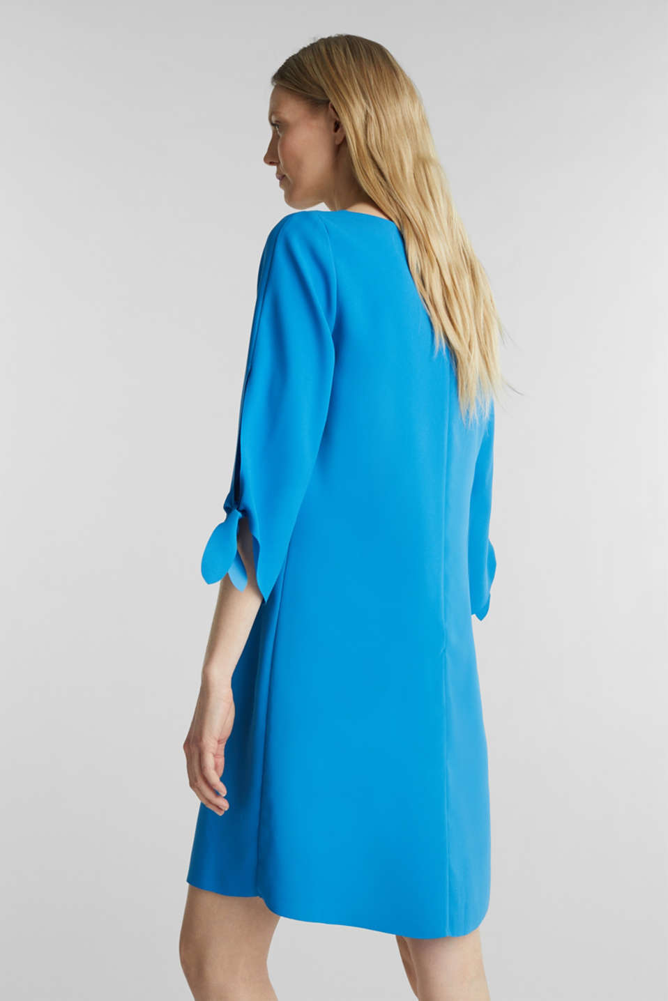 Crêpe dress with open edges, DARK TURQUOISE, detail image number 2