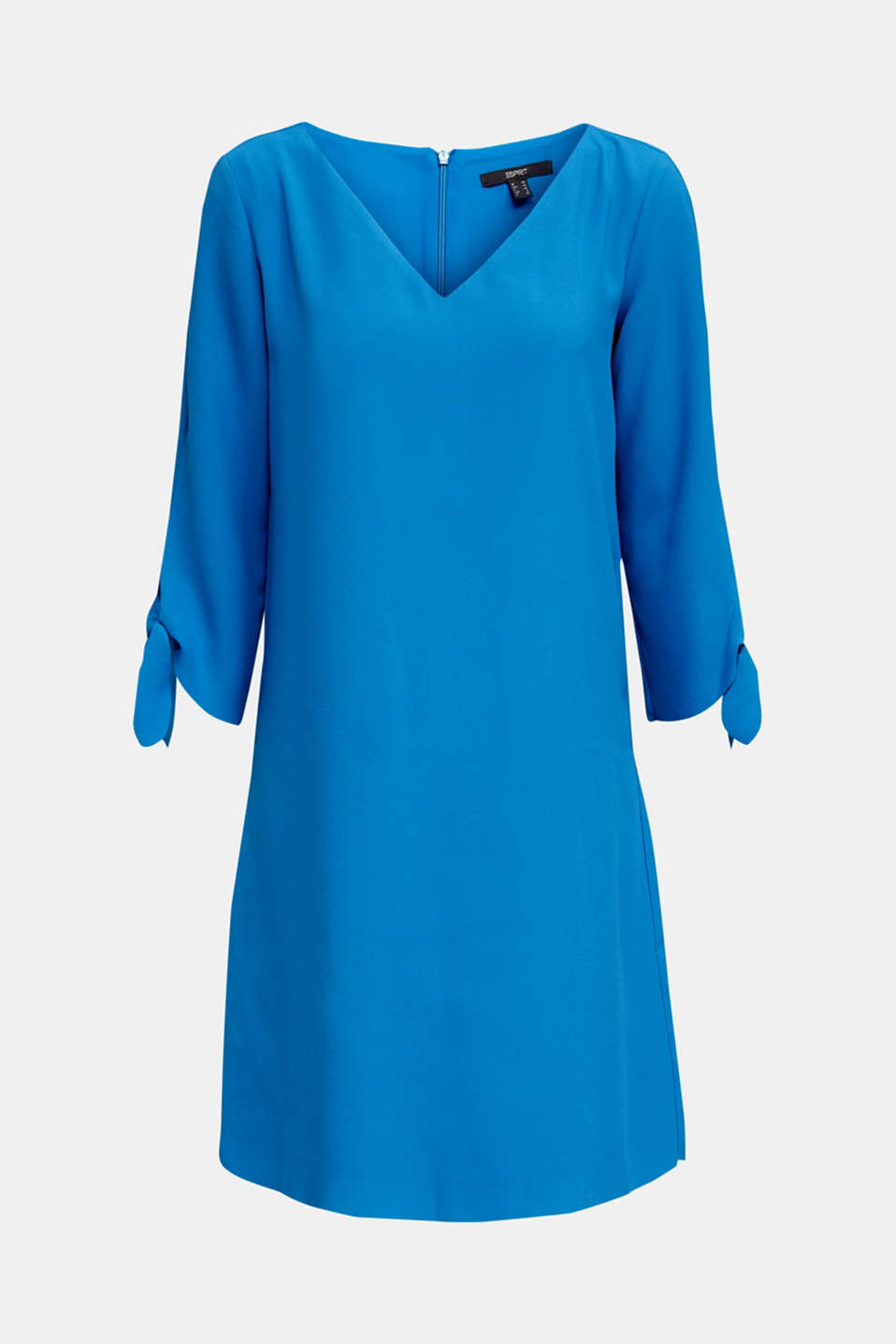 Crêpe dress with open edges, DARK TURQUOISE, detail image number 6