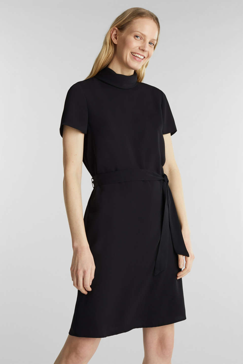 Cloth polo neck dress, BLACK, detail image number 0