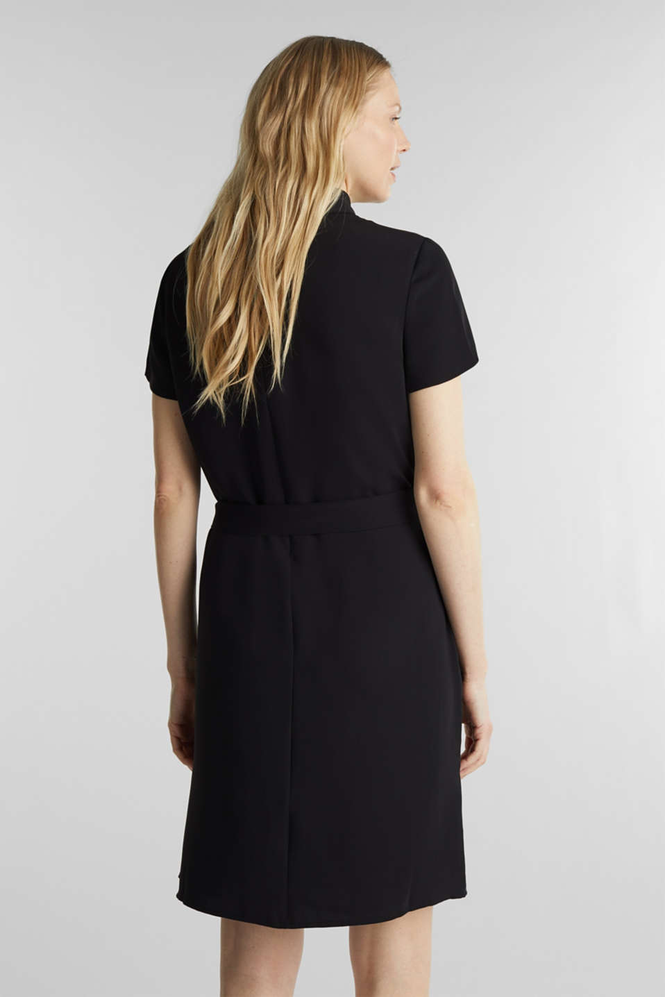 Cloth polo neck dress, BLACK, detail image number 2