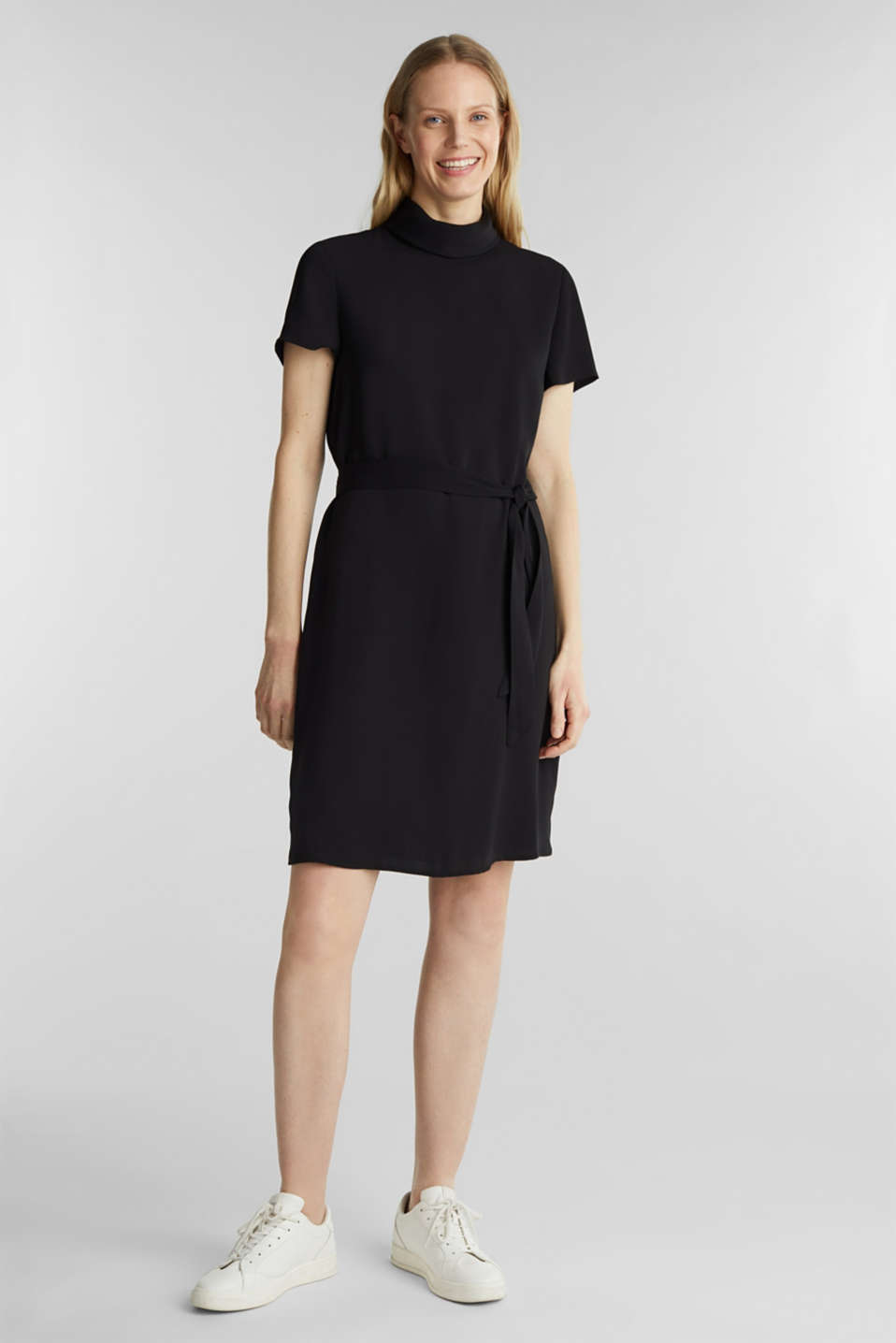 Cloth polo neck dress, BLACK, detail image number 1