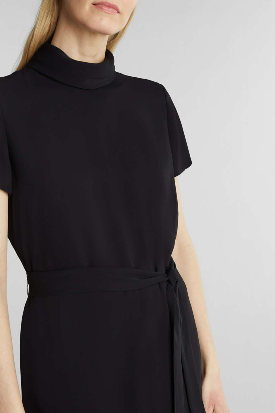 Cloth polo neck dress, BLACK, detail image number 3