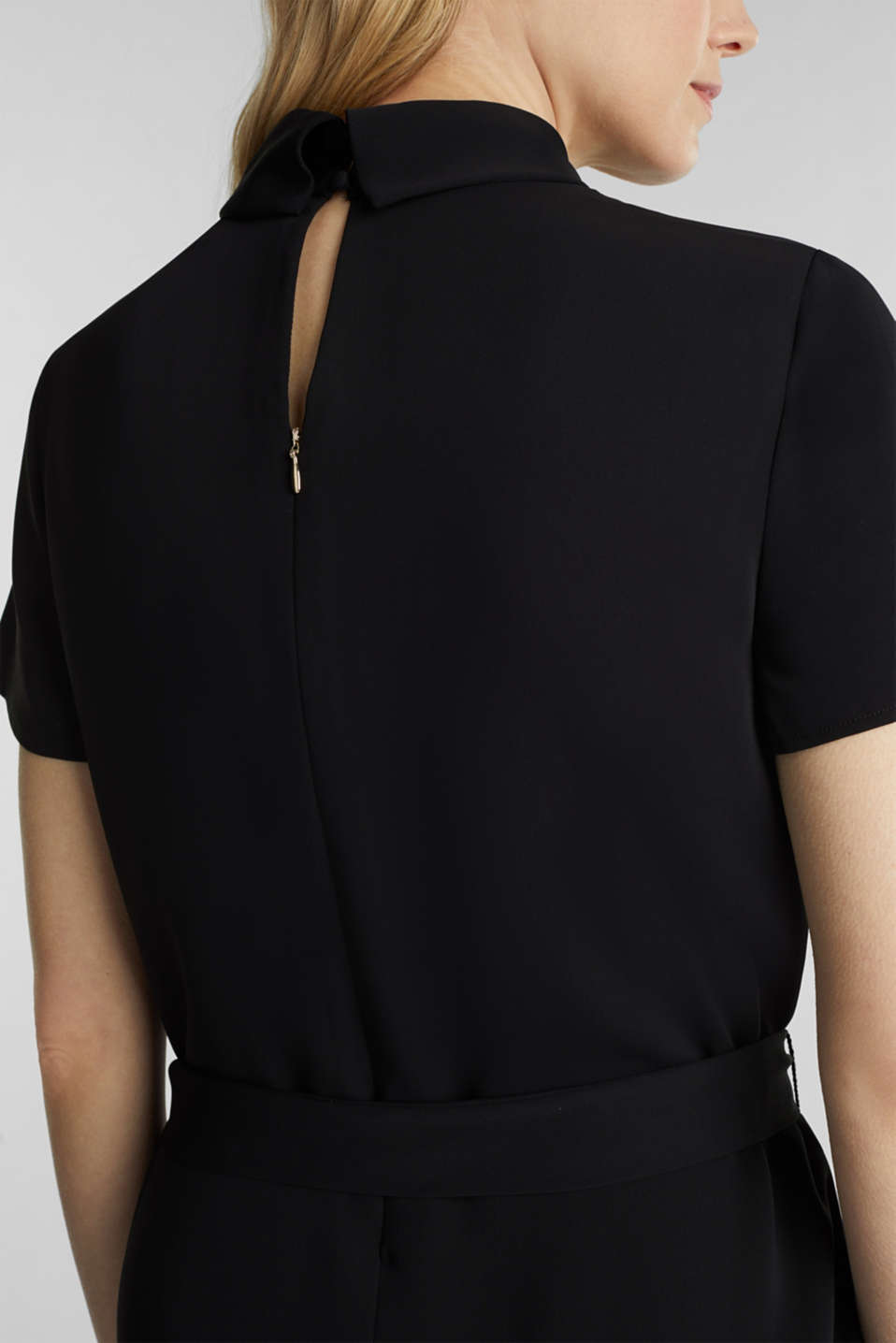 Cloth polo neck dress, BLACK, detail image number 5