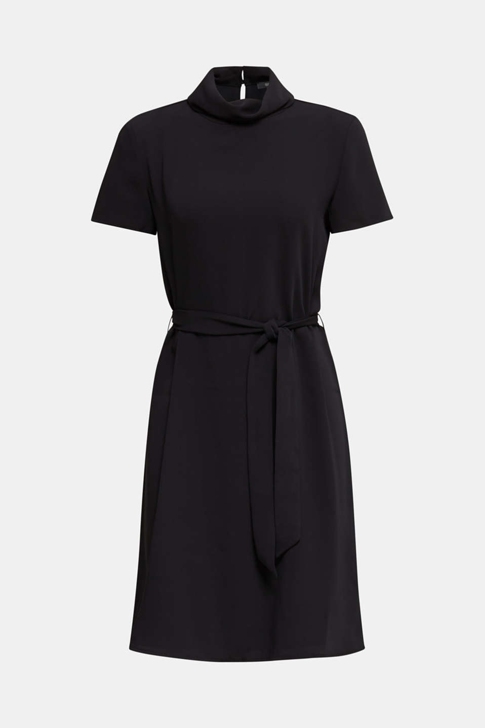 Cloth polo neck dress, BLACK, detail image number 7
