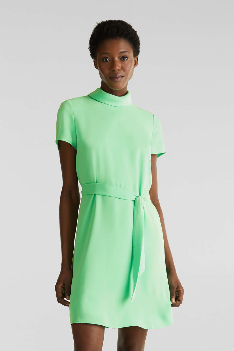 Cloth polo neck dress, LIGHT GREEN, detail image number 0