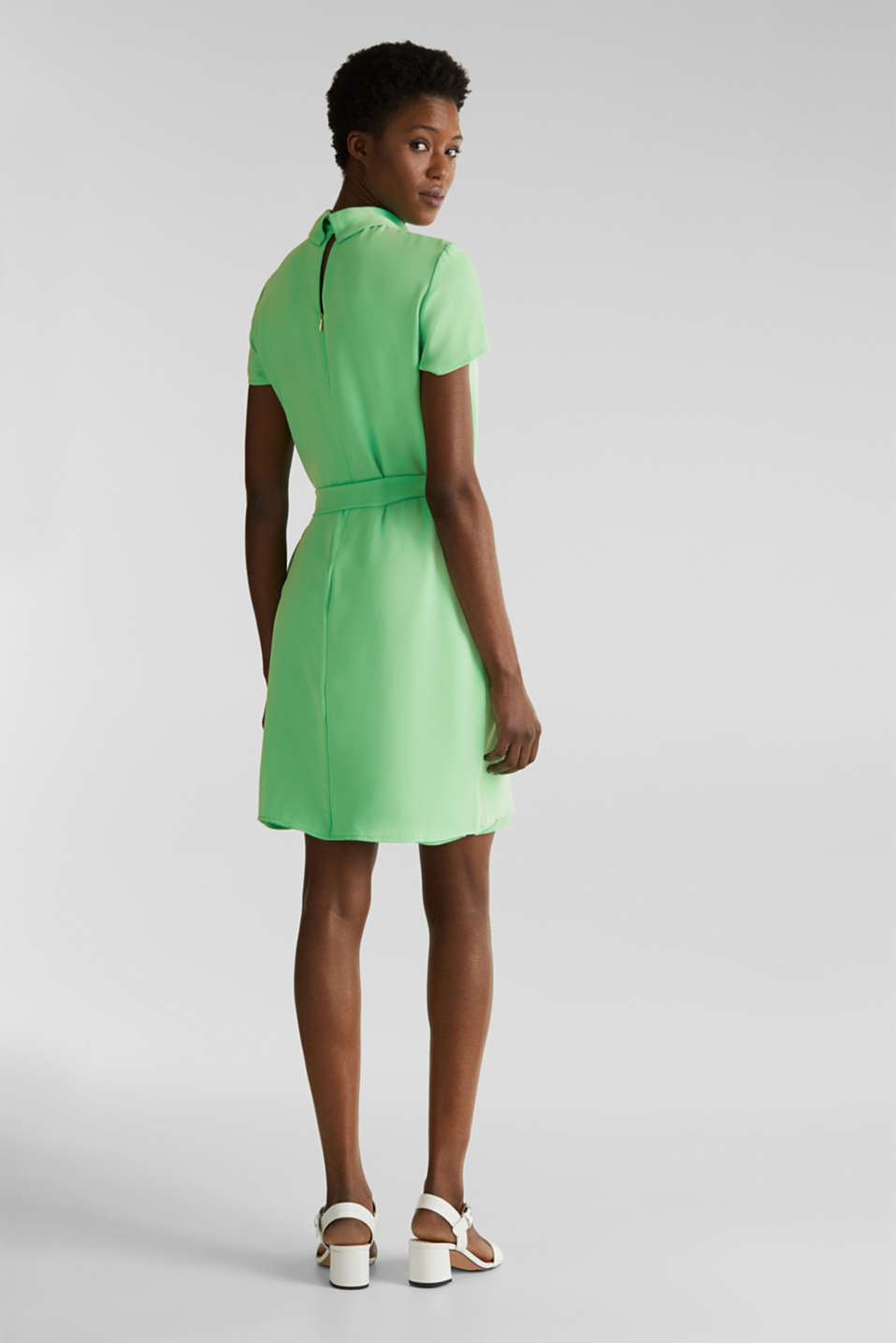 Cloth polo neck dress, LIGHT GREEN, detail image number 2