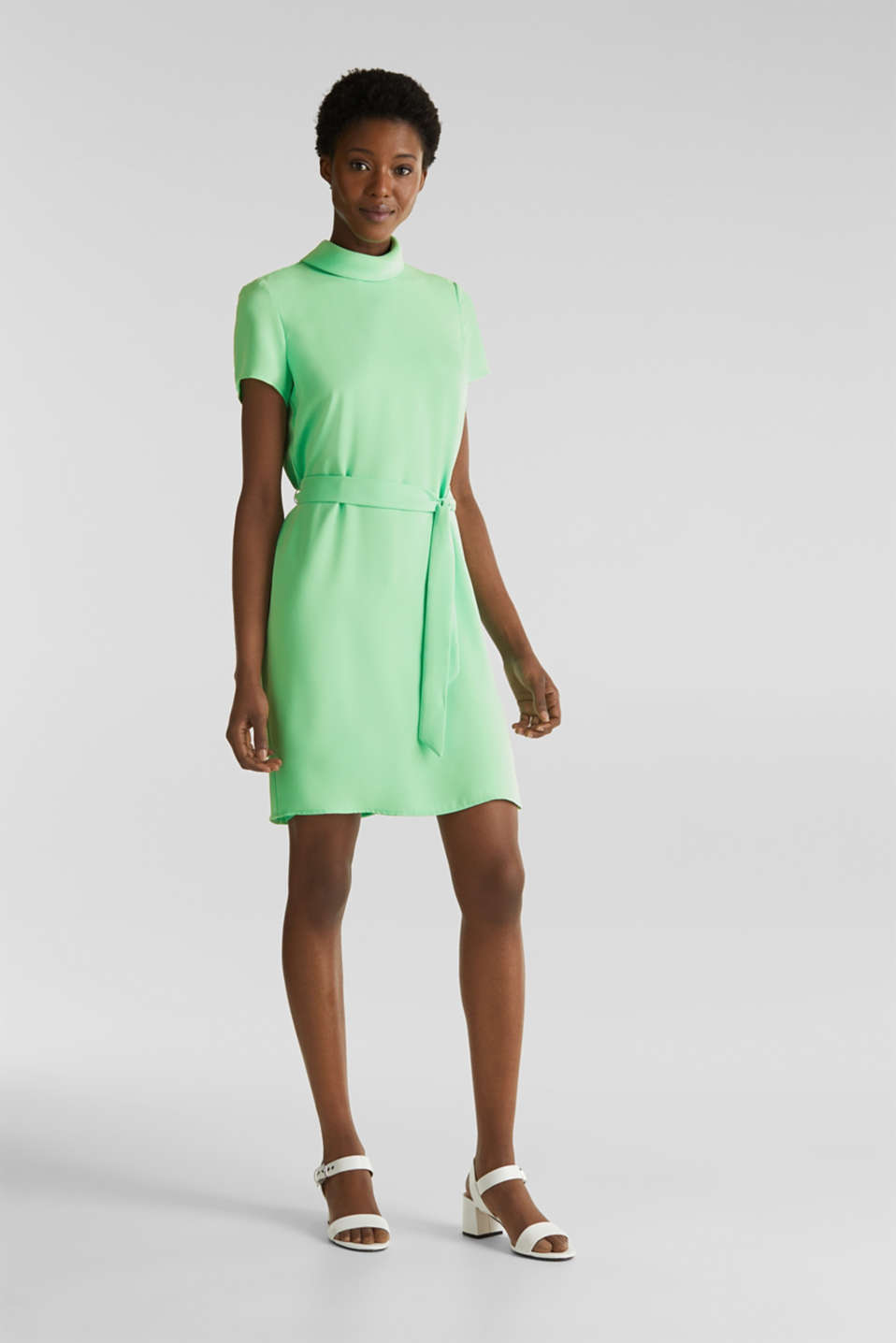 Cloth polo neck dress, LIGHT GREEN, detail image number 1