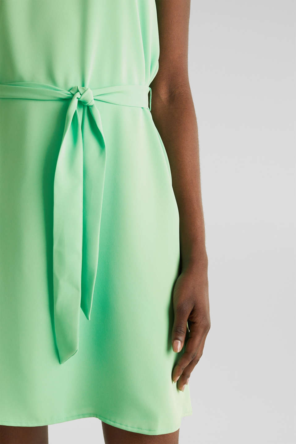 Cloth polo neck dress, LIGHT GREEN, detail image number 3