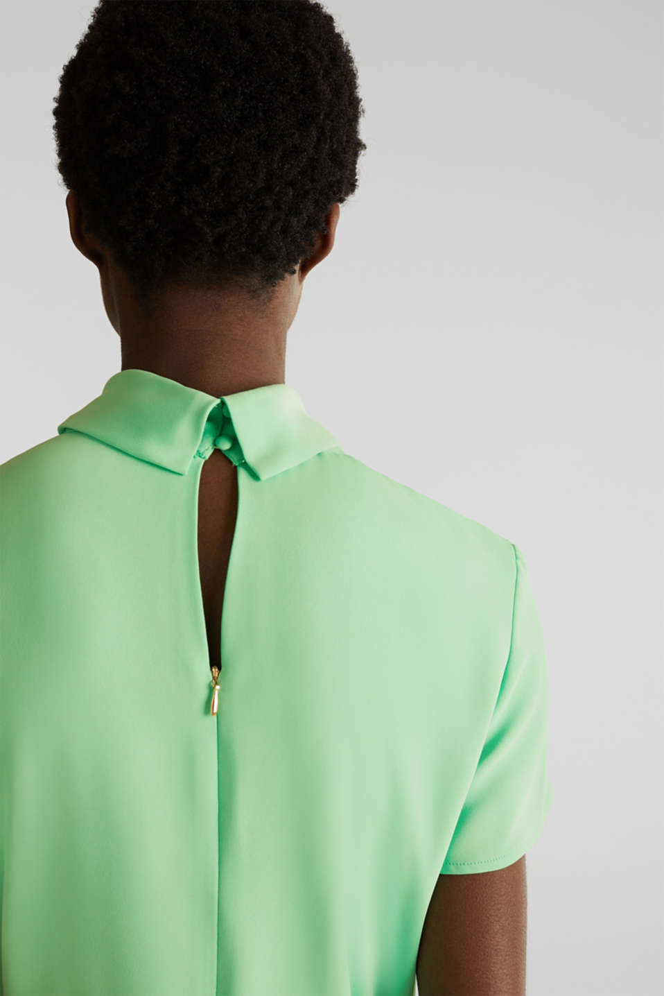 Cloth polo neck dress, LIGHT GREEN, detail image number 5