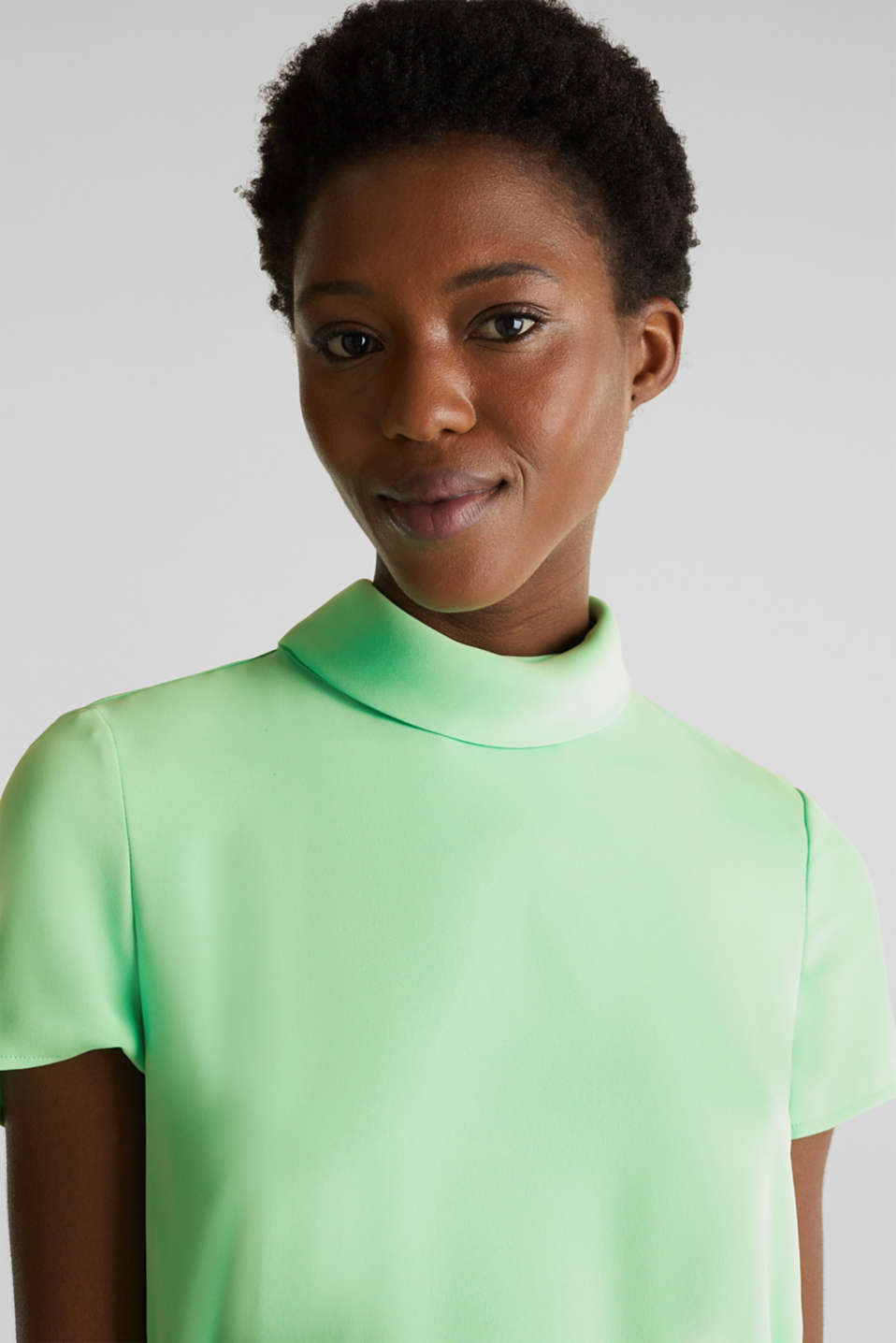 Cloth polo neck dress, LIGHT GREEN, detail image number 6