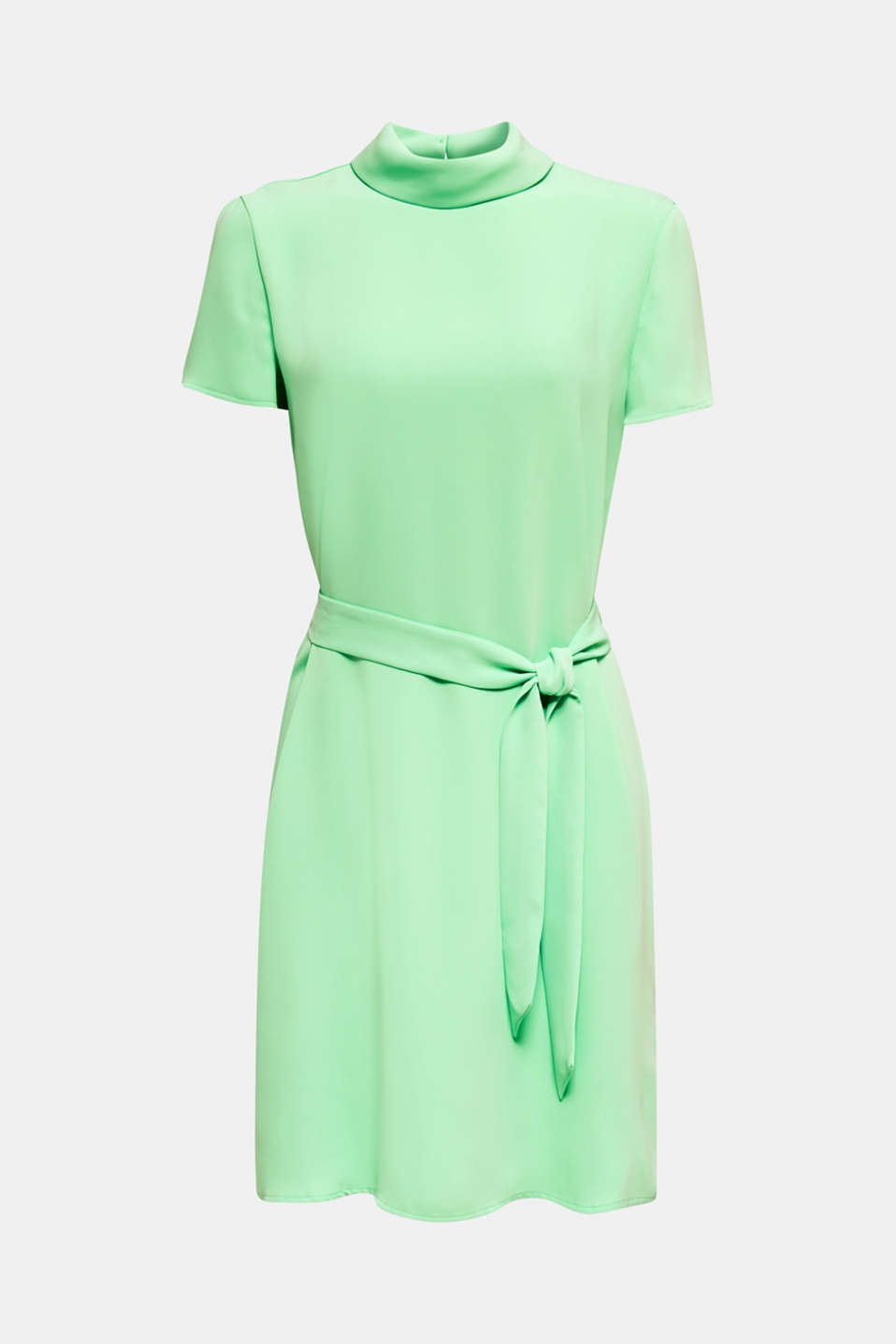 Cloth polo neck dress, LIGHT GREEN, detail image number 7