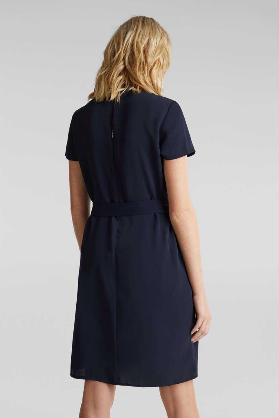 Cloth polo neck dress, NAVY, detail image number 1