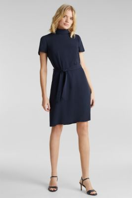 Cloth polo neck dress, NAVY, detail