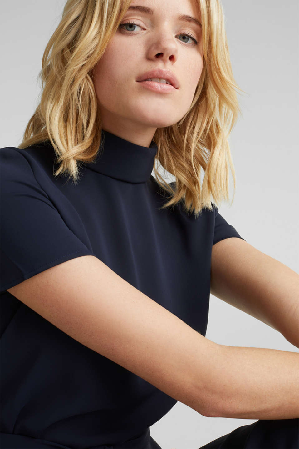 Cloth polo neck dress, NAVY, detail image number 2
