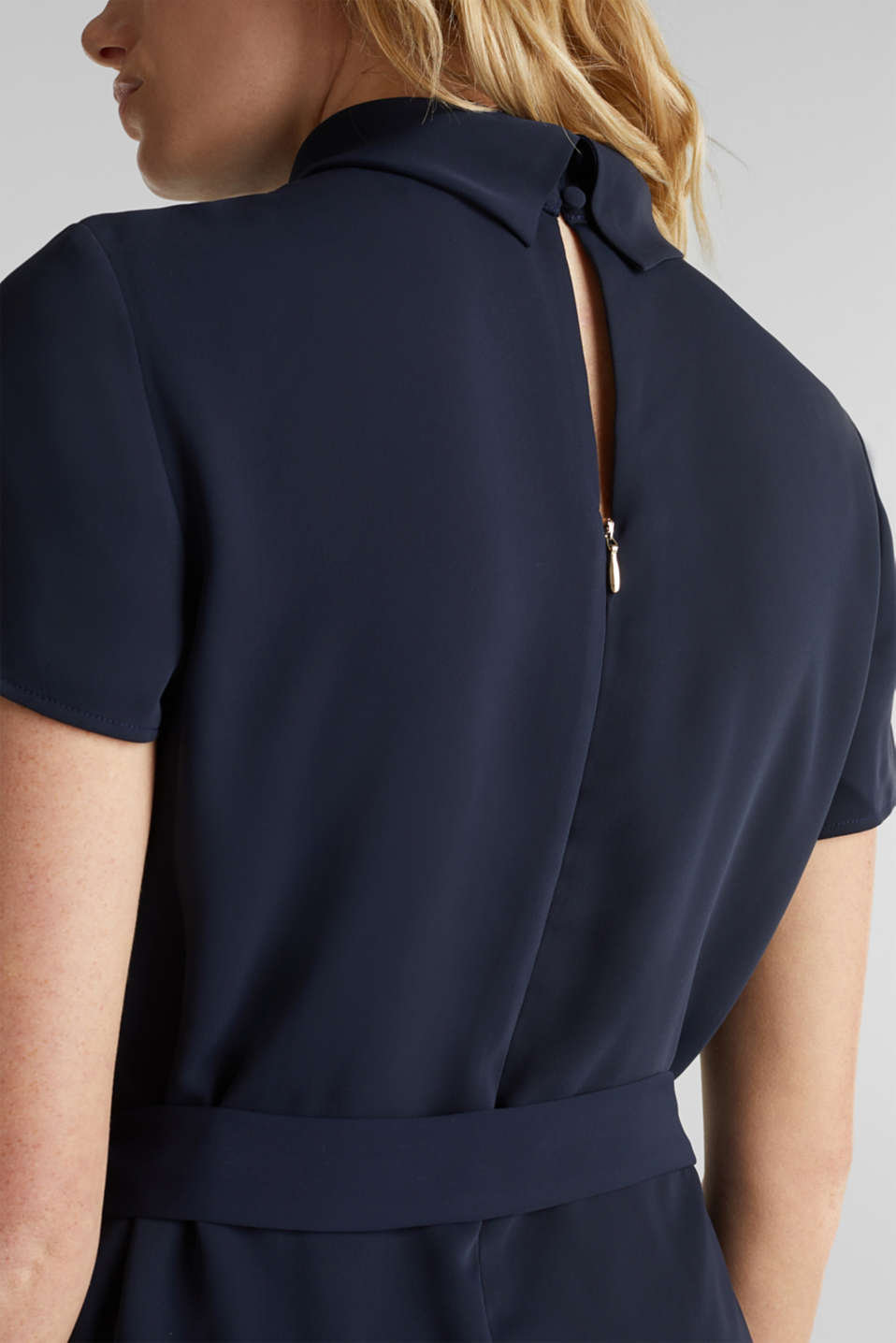 Cloth polo neck dress, NAVY, detail image number 4