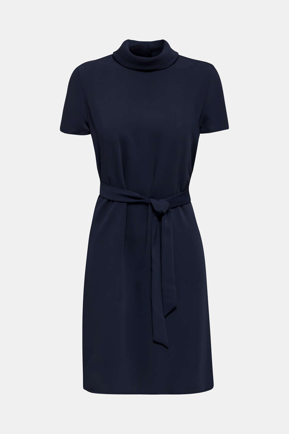 Cloth polo neck dress, NAVY, detail image number 5