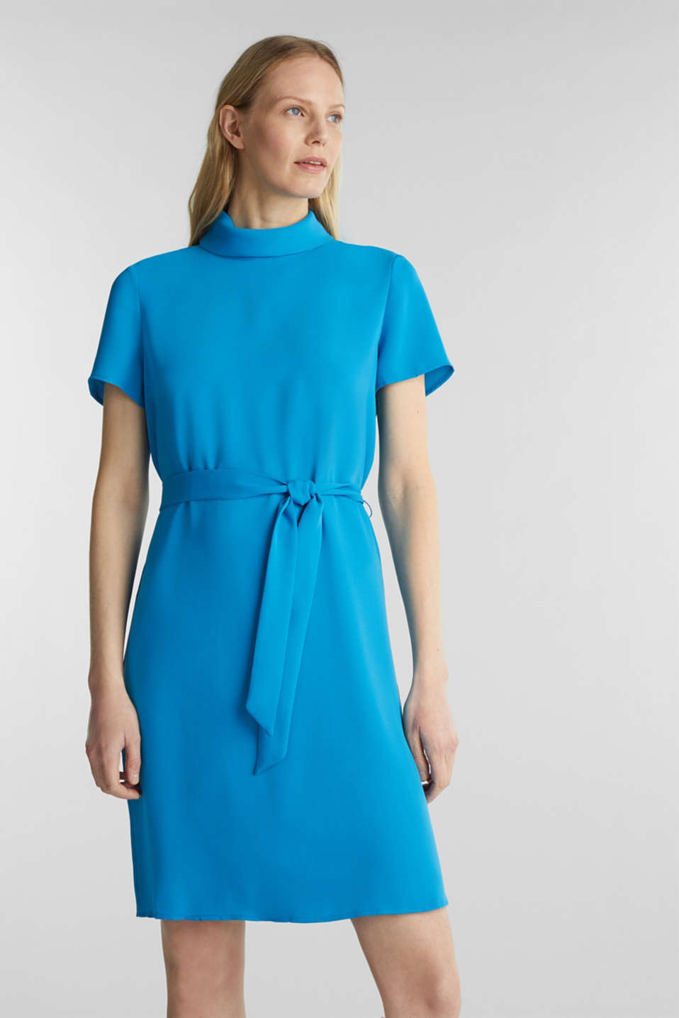 Cloth polo neck dress, DARK TURQUOISE, detail image number 0