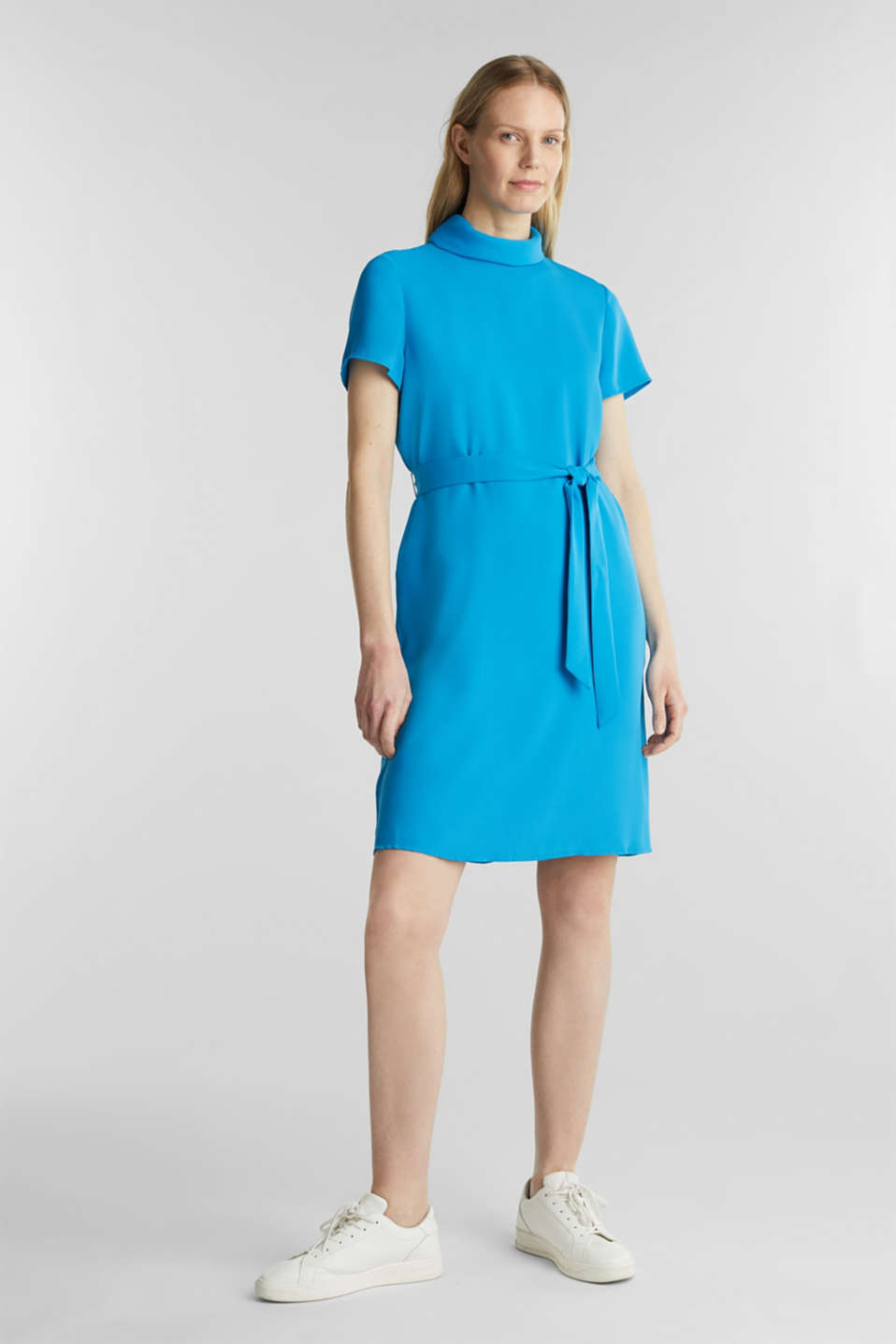 Cloth polo neck dress, DARK TURQUOISE, detail image number 5