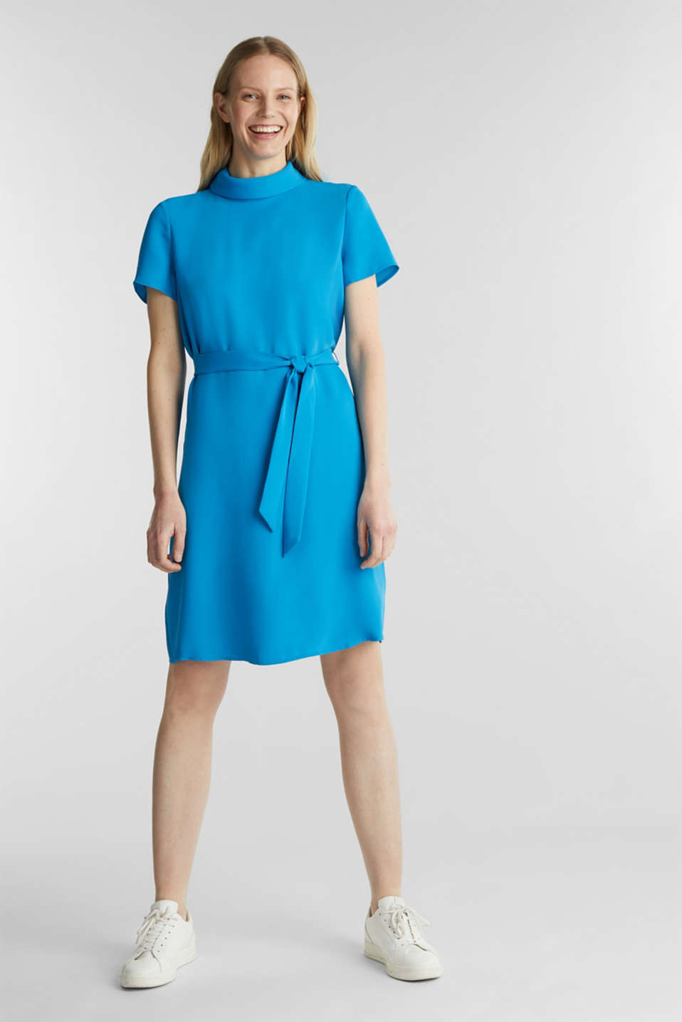 Cloth polo neck dress, DARK TURQUOISE, detail image number 1
