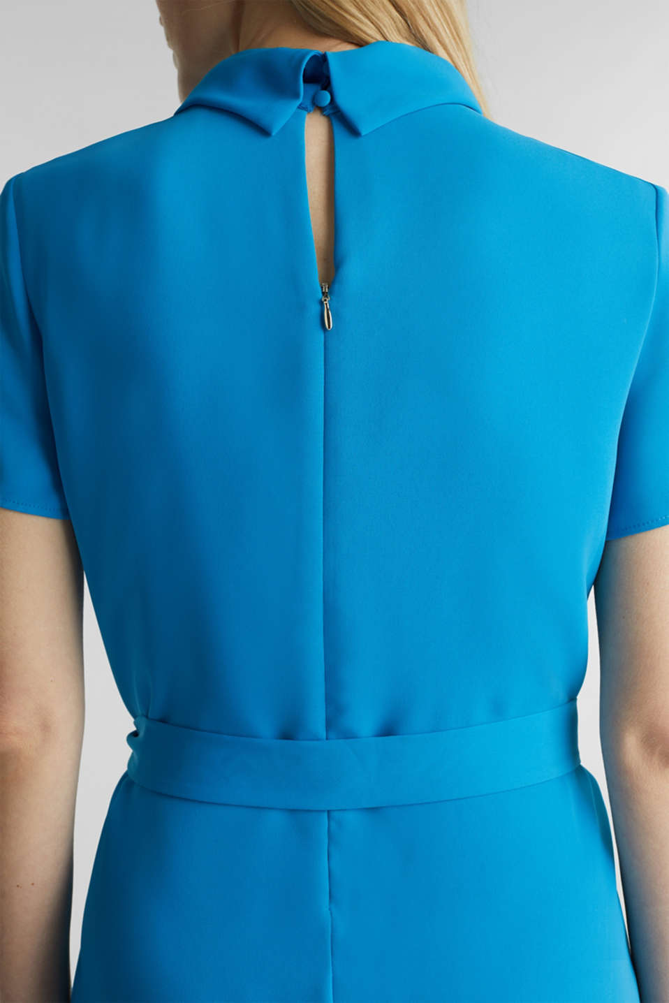 Cloth polo neck dress, DARK TURQUOISE, detail image number 6