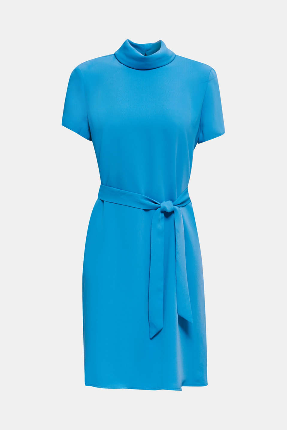 Cloth polo neck dress, DARK TURQUOISE, detail image number 7
