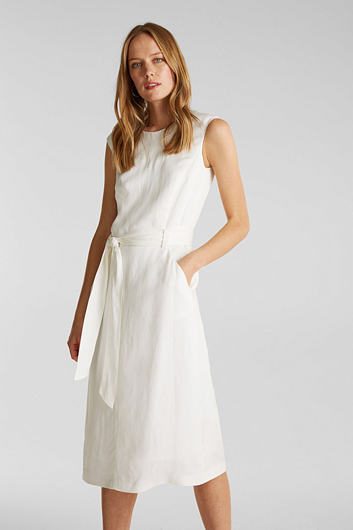 Blended linen: Dress with a tie-around belt, OFF WHITE, detail image number 0