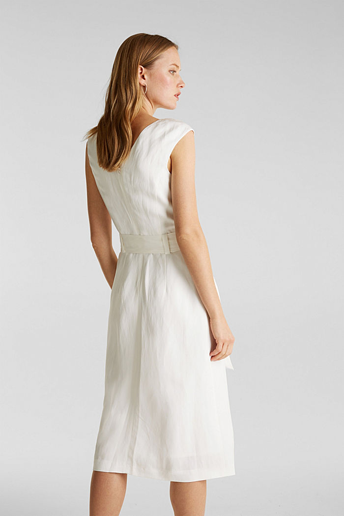 Blended linen: Dress with a tie-around belt, OFF WHITE, detail image number 3