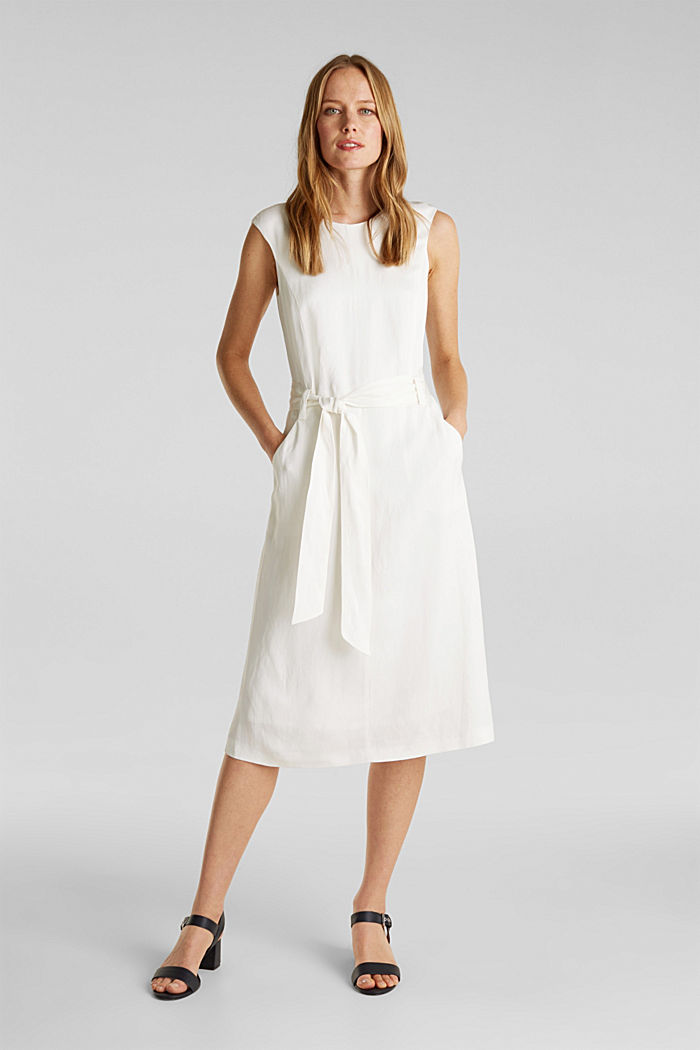 Blended linen: Dress with a tie-around belt, OFF WHITE, detail image number 1