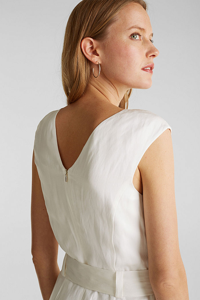 Blended linen: Dress with a tie-around belt, OFF WHITE, detail image number 2